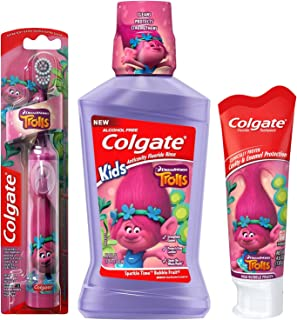 Colgate Trolls Poppy Kids Toothbrush & Mouthwash Bundle: 3 Items - Powered Toothbrush, Mild Bubble Fruit Toothpaste, Bubble Fruit Mouthwash