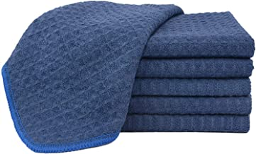 Sinland Microfiber Waffle Weave Dishcloths Cleaning Cloths 6 Pack 33CM X 33CM Navy Blue