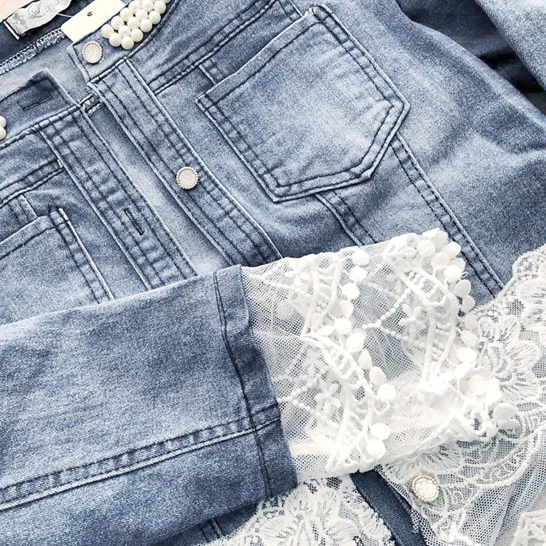 Women Jean Jacket Casual Lace Half Sleeve Denim Jacket Long Jean Coat Outwear Overcoat