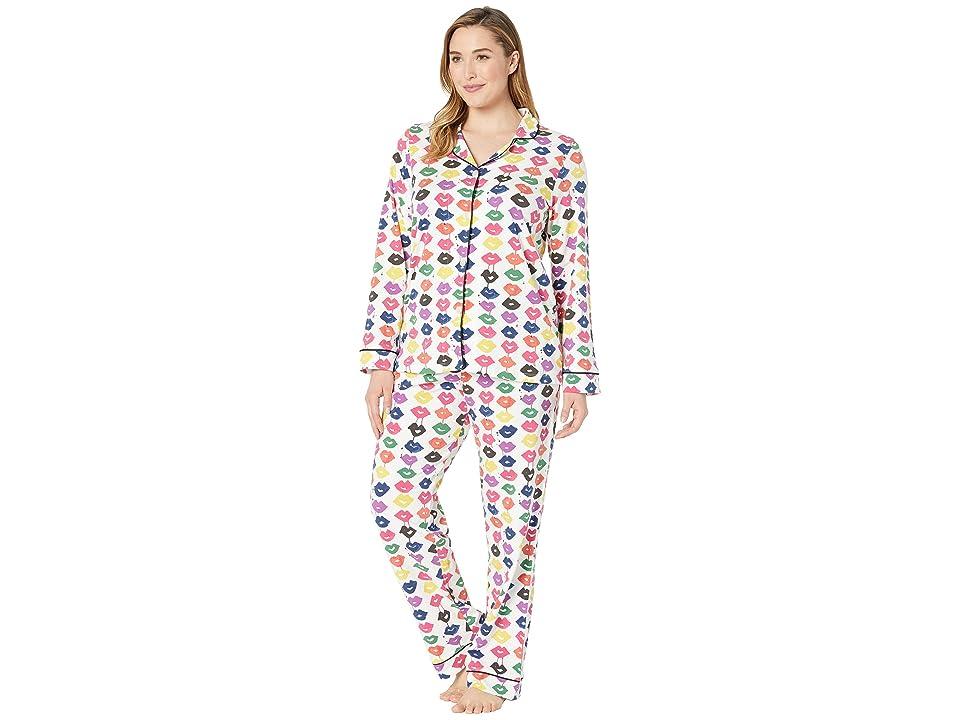 BedHead Pajamas Plus Size Long Sleeve Classic Notch Collar Pajama Set (Sealed with A Kiss) Women