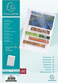 Exacompta 5850E Sachet 50 pochettes coin polypropylene grainée épaisseur 12x100e format A4