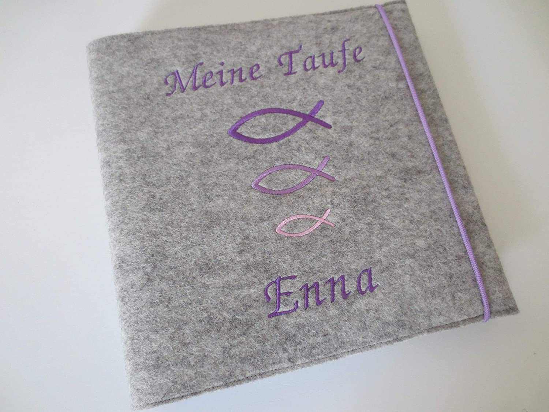 Fotoalbum Kind Kommunion Konfirmation Firmung Album Name Mädchen Junge Geburt Taufe Wollfilz 24,5 cm x 25 cm B07JQY2CCX  | Eleganter Stil