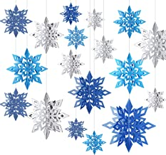 WILLBOND 18 Pieces 3D Hollow Christmas Winter Hanging Snowflakes Decorations Glittery Large Snowflake Pendant Garlands for...
