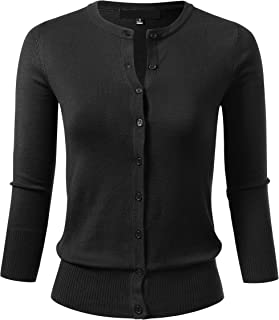 Women's Button Down 3/4 Sleeve Crew Neck Knit Cardigan Sweater (S-3X)