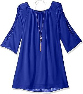 Amy Byer Girls' Big 3/4 line Dress with Split Sleeves