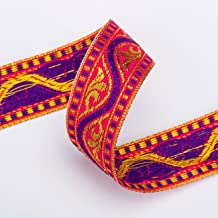Stunning India Sari Decorative Ribbon, 2cm, Gold Red, Violet & Cerise. Ribbon Trim with indian Jacquard pattern, Satin and metallic ribbon, but Soft feel trim for Sewing or Hobby Crafts or Scrap Booking or Card making. Washable and Durable to decorate garments or interiors or as craft accessory. 3 Stunning colors to chose from Red, Cerise, Black with Violet. Fab Decorative trimming or Dress trimmings.