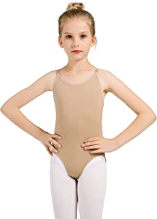 DANSHOW Women and Girls Nude Seamless Camisole Undergarment Leotard Dress with Transition Straps