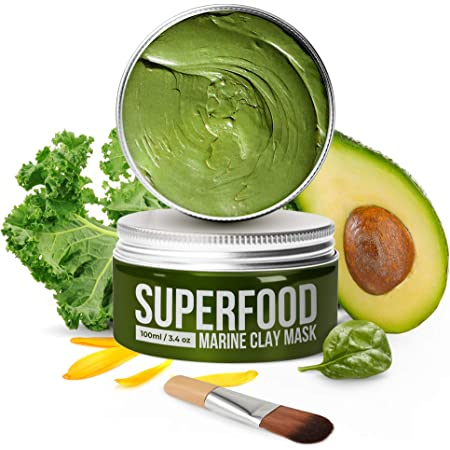 100% Vegan Dead Sea Mud Mask with Avocado & Superfoods - 100ml/3.4 Oz Face Mask for Acne - Dermatologically Tested Hydrating Clay Mask - Blackhead Remover - Face Masks Skincare