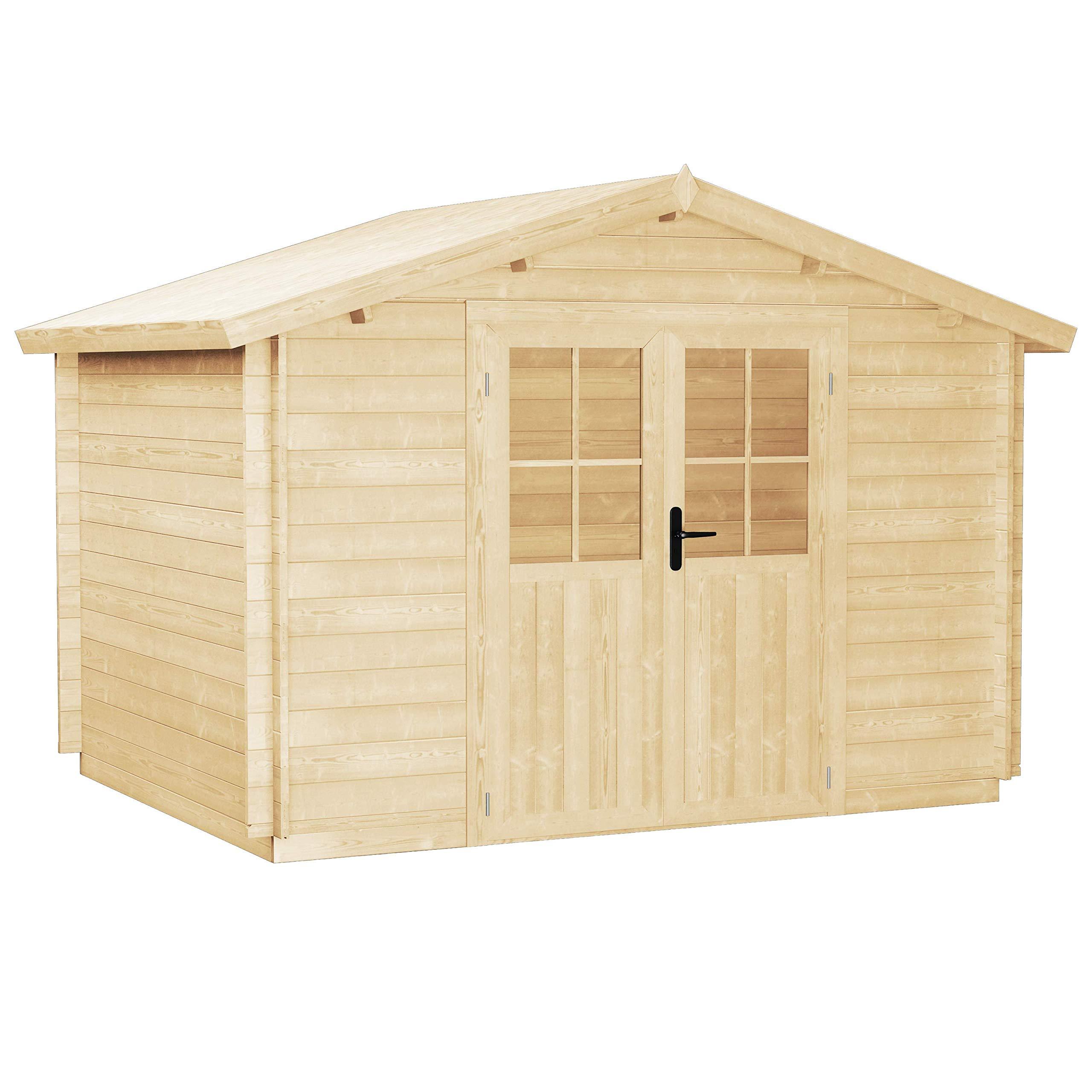 vidaXL - Caseta de jardín de madera maciza, 28 mm, 3, 1 x 3 m: Amazon.es: Jardín
