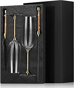 4 Piece Wedding Toasting Flutes and Cake Server Set Glittering Bead Wedding Reception Supplies Including 2 Champagne Glasses, 1 Cake Knife and 1 Pie Server (Gold)