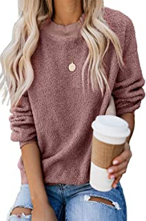 KINGFEN Womens Fuzzy Sherpa Fleece Sweaters Casual Crewneck Sweatshirt Pullover