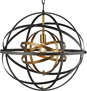 "Rondure 24"" Wide Bronze and Brass Pendant Double Metal Strap Globe Metal Sphere Trendy Orb Open Frame Shape Ceiling Lamp"