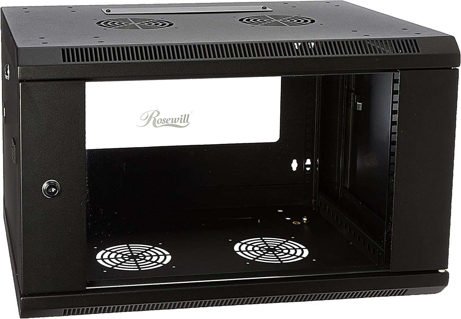 Rosewill Professional 6U Wall mount Cabinet Enclosure 19-Inch Server Network Rack With Locking Glass Door 16-Inches Deep Black (RSWM-6U001)