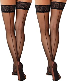YENITA 2 Pairs Back Seamed Sexy Thigh High Stockings Lace with Double Silicone Hold Ups Stockings