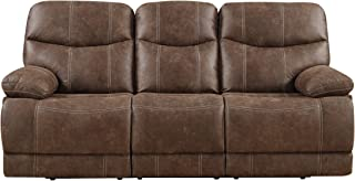 Emerald Home Earl Brown Sofa with Faux Leather Upholstery, Dual Reclining Seats, And Pillow Arms