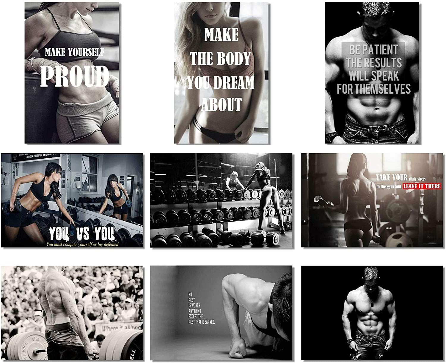 Fitness Gym Exercise Workout Girl,Boy Motivate Poster print choose your size