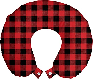 Ambesonne Plaid Travel Pillow Neck Rest, Lumberjack Fashion Buffalo Checks Pattern Retro Style Grid Composition, Memory Foam