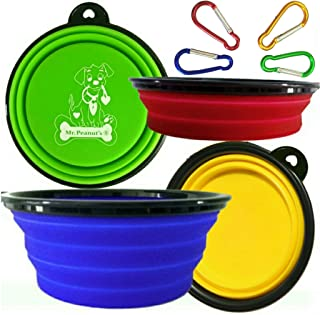 (Set of 4) - Collapsible Dog Bowls by Mr. Peanut's, Dishwasher Safe BPA FREE Food Grade Silicone Portable Pet Bowls, Perfe...
