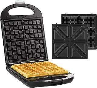 Senya Gaufrier appareil à croque monsieur réversible pour 4 gaufres ou 4 croques Family Waffle 1200W Noir SYCK-WM015