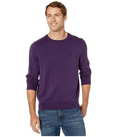 Nautica Solid Crew Neck Sweater (Blackberry) Men