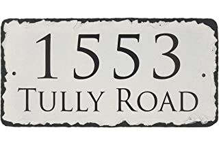 Sassy Squirrel Beautifully Handcrafted and Customizable Slate Home Address Plaque Personalized House Sign with and mounting Hardware. Improve The Curb Appeal of Your Property (12