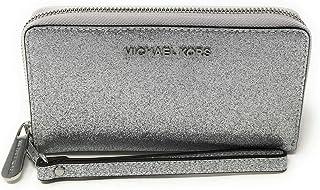محفظة جلدية كبيرة متعددة الوظائف ومسطحة مزودة بحافظة حماية للهاتف للنساء من مايكل كورس - لون فضي
