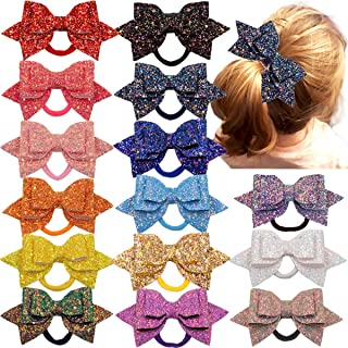 Women Girls Glitter Hair Bows Boutique Hair Ties Ponytail Holders Bands-15pcs Multi Color Glitter Sequins Big Hair Bows Fo...