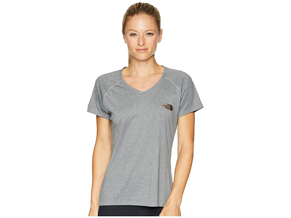 The North Face Short Sleeve Reaxion V-Neck Tee (TNF Medium Grey Heather/Metallic Copper) Women