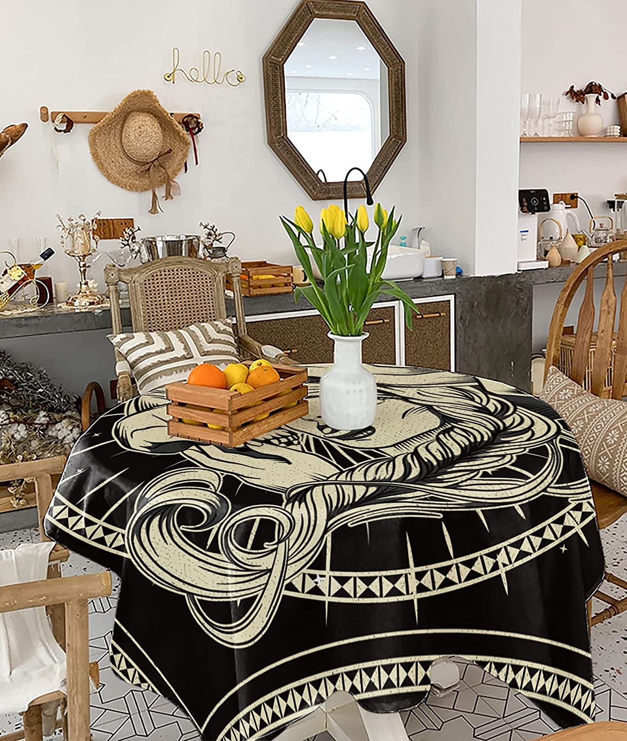 PartyShow Cotton Linen depot San Diego Mall Tablecloth Witch Long-haired with Skull