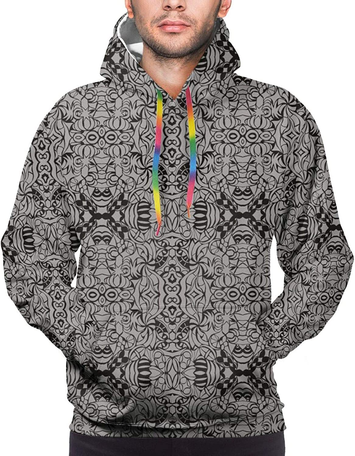 Men's Hoodies Sweatshirts,Abstract Animal Ornament Pattern in Tribal Style for Tattoo and Culture Design
