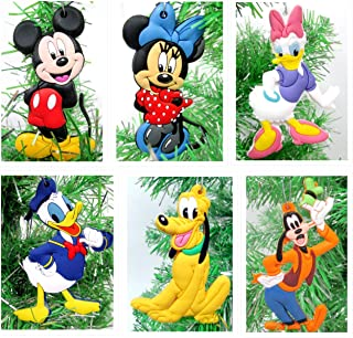 Disney MICKEY MOUSE 6 Piece Ornament Set Featuring Mickey Mouse, Minnie Mouse, Donald Duck, Daisy Duck, Goofy and Pluto, O...