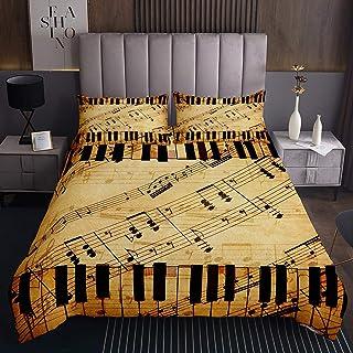 Erosebridal Music Notes Bedspread Piano Keyboard Melody Cove
