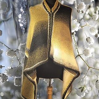Poncho in lana lavorato a mano con telaio e uncinetto - parte anteriore più corta - sfumature nero, bianco, grigio, verde ...