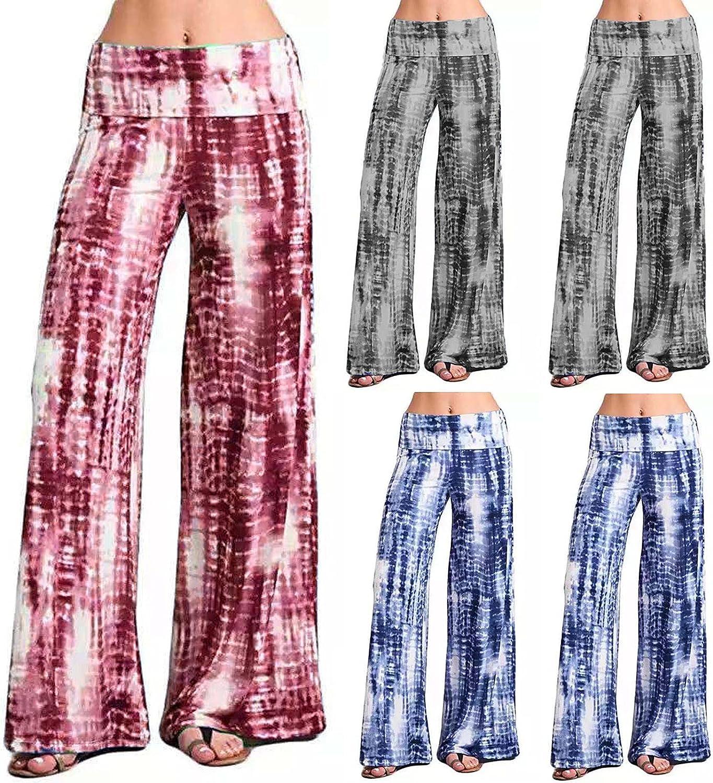 Women's High Waist Trousers Casual Tie Dye Print Wide Leg Lightweight Harem Lounge Pants Yoga Sweatpants