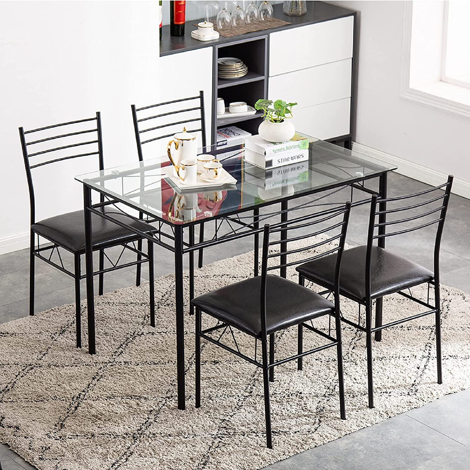 Buy Honadar 9 Piece Dining Room Table and Chair Set, Wrought Iron ...
