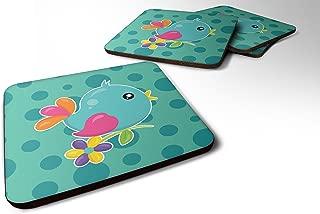 Caroline's Treasures Bird On Teal Polkadots Foam Coaster Set of 4, 3.5, Multicolor