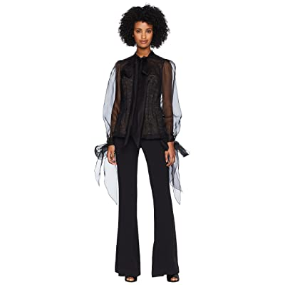 Marchesa Button Front Organza Blouse w/ Bow at Cuff and Neck w/ Nude Cami Underlay (Black) Women