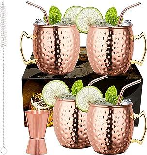 LIVEHITOP Ensemble 4 Tasses Mule Moscou, 18 Oz Tasse Cuivre avec 4 Sous-verres, 4 Pailles, Jigger & Brosse à Paille, Elle ...