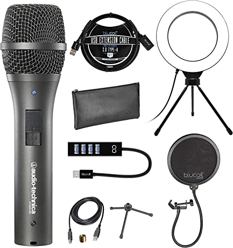 """wholesale Audio-Technica AT2005USB Cardioid Dynamic USB/XLR Microphone for PA Systems, Windows and Mac Bundle with Blucoil 2021 Pop Filter, 6"""" Dimmable Selfie Ring Light, and 3-FT USB 2.0 Type-A Extension outlet online sale Cable online"""