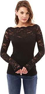 Women Boatneck Sweetheart Inset Floral Lace Blouse