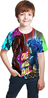 LORBUK God-Zilla Shirt Youth T-Shirt 3D Printing Kid Short Sleeve Shirt for Boy Girl Summer Tops Tee