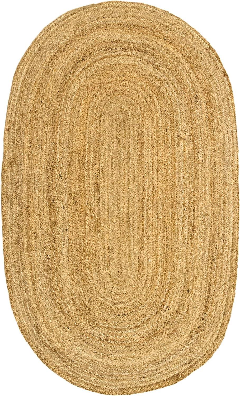 HAMID Jute Teppich Natur - Alhambra Oval Teppich 100% Naturfaser de Jute (90x150cm)