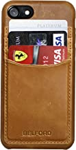 BELFORD Top Grain Italian Leather iPhone 8 Cover Case Tan iPhone 7 Leather Case Protective Premium Microfiber Lining Slim Fit Hard Back Cover iPhone 8/7 Leather Cases with ID Card Cash Slot Holder