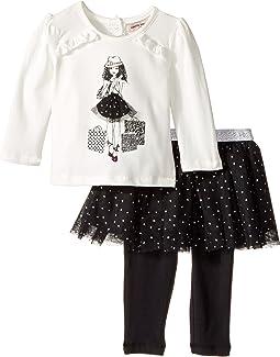 Nanette Lepore Kids - Shopping Girl Tee with Dot Glitter Tutu and Leggings Set (Infant)