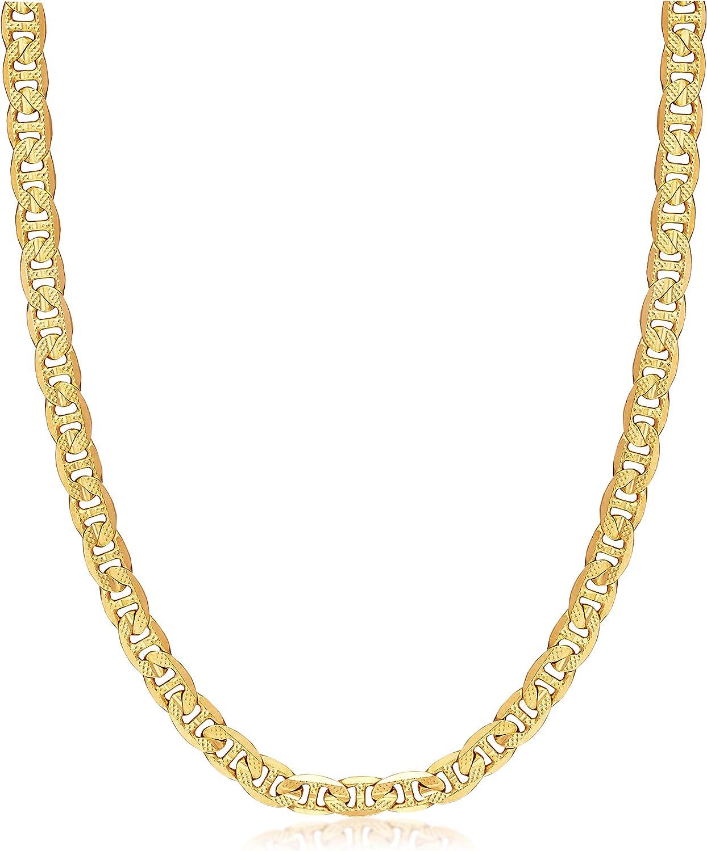 Barzel 18k Gold Plated 6MM Diamond Cut Flat Marina/Mariner Link Chain Necklace for Men, Women & Teens