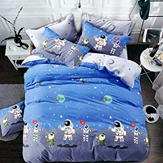 Divvay Homes 120 TC Microfiber Kids Single Cartoon - Astronaut Single 3D Printed Bedsheet (Pack of 1 with One Pillow Cover, Sky)