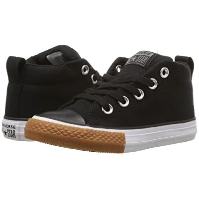 Converse Kids Chuck Taylor All Star Street Mid (Little Kid/Big Kid) (Black/Black/White) Boy