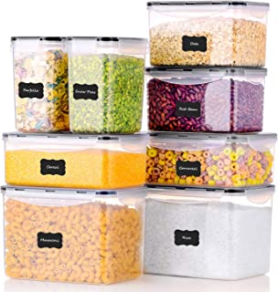 ME.FAN Food Storage Containers [Set of 8] Airtight Storage Keeper with 24 Chalkboard labels Ideal for Cereal, Sugar, Flour...