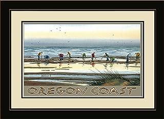 "Northwest Art Mall BA-4019 MFGDM CD Oregon Coast Clam Digging Framed Wall Art by Artist Dave Bartholet, 13"" x 16"""