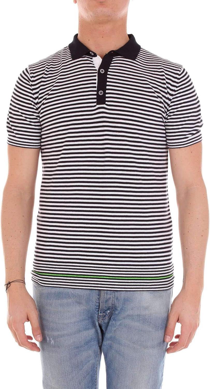 RETOIS Men's 8030WHTblueeE White blueee Cotton Polo Shirt